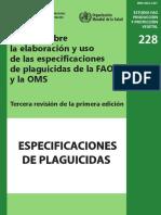 Manual Sobre La Elaboración y Uso de Las Especificaciones de Plaguicidas de La FAO y La OMS