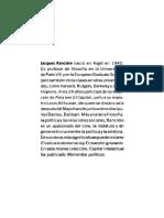 Ranciere - El Malestar en La Estetica. Políticas de La Estética.