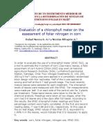 Evaluación de Un Medidor de Clorofila en La Det de Nitrógeno Foliar en Maíz