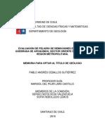 Evaluacion de Peligro de Remociones en Masa en Quebrada de Apoquindo Sector Oriente De