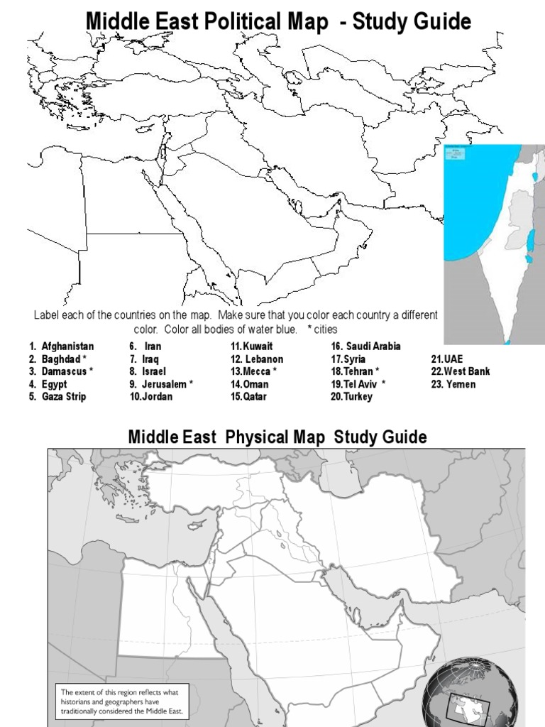 Tel Aviv Middle East Map.Middle East Map Study Guide 2017