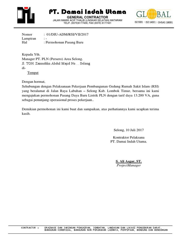 Contoh Surat Permohonan Pemasangan Listrik Baru Untuk ...