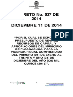 Decreto 537 Se Expide Presupuesto de Rentas 2015 (1)(2)