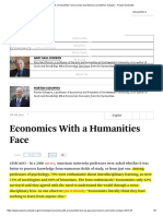 Economics With a Humanities Face (Project Syndicate)