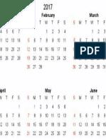 2017 Calendar 1s