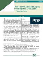 Peace Deal Between Hekmatyar and Afghanistan