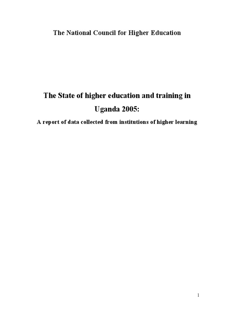 The state of higher education and training in Uganda 2005 | Higher  Education | University