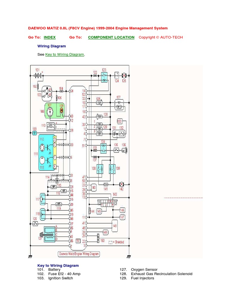 matiz - engine wiring diagram.pdf   Ignition System   Vehicles   Chevrolet Matiz Wiring Diagram      Scribd
