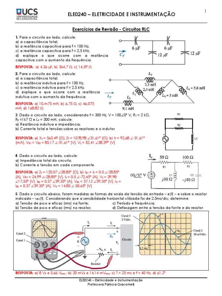 Circuito Z : Exercícios de revisão 2 circuitos em corrente alternada