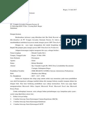 Contoh Surat Lamaran Kerja Pabrik Garment - suratlamaran.com