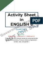 Activity Sheet English Grade 6 Week 7 Day 1