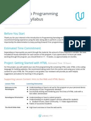 Syllabus Introtoprogrammingnanodegree Pdf Html Cascading Style Sheets