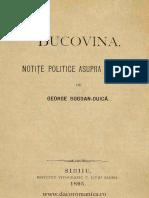 Bucovina - Notite Politice Asupra Situatiei