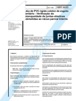 NBR 9055 - Tubo de PVC Rigido Coletor de Esgoto Sanitario - Verificacao Da Estanqueidade de Junta