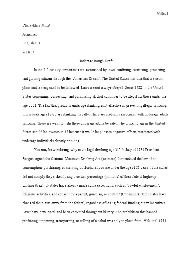argument essay the drinking age