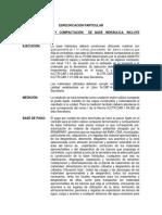 Especificacion Particulares Base, Base Negra y Carpeta