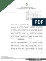Fallo de la Cámara Nacional Electoral que inhabilitó la lista de Mario Ishii