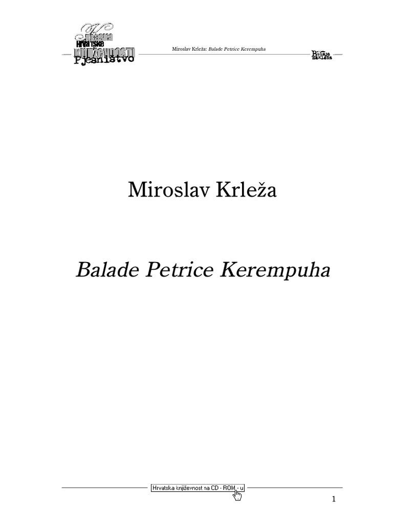 Miroslav Krleza Balade Petrice Kerempuha Pdf