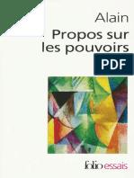 Alain - Propos Sur Les Pouvoirs