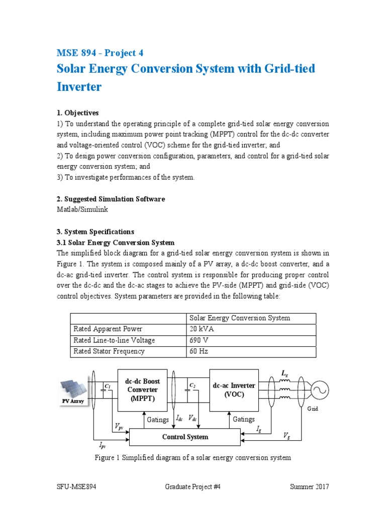 Solar Energy Conversion System with Grid-tied Inverter