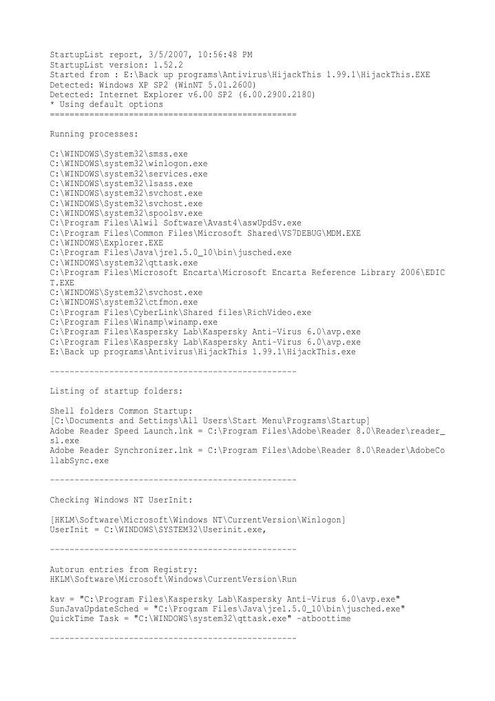 Start Up List | Windows Registry | Microsoft Windows