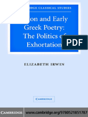 Irwin2005solon And Early Greek Poetry The Politics Of