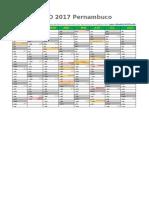 Calendario 2017 Pernambuco