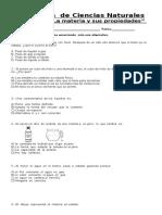 Evaluación de Ciencias Naturales (3ª Unidad, La Materia)