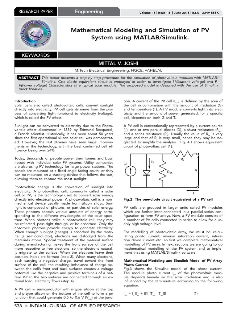 Mathematical Modeling and Simulation of PV pdf