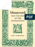 TOMLINSON, Gary - Monteverdi and the End of the Renaissance