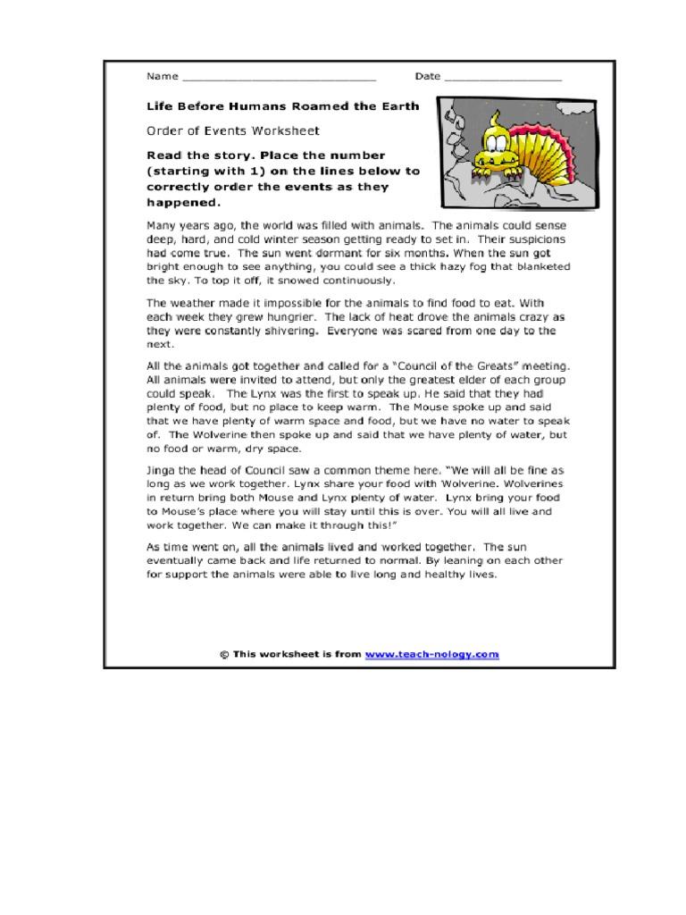 Workbooks teach-nology.com worksheets : Life Before Human Passage