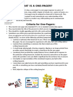 what is a one-pager