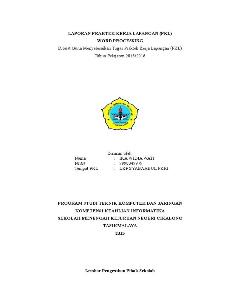 Laporan Prakerin 2015 Disusun Oleh Ikawidiawati