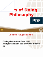 2 Ways of Doing Philosophy