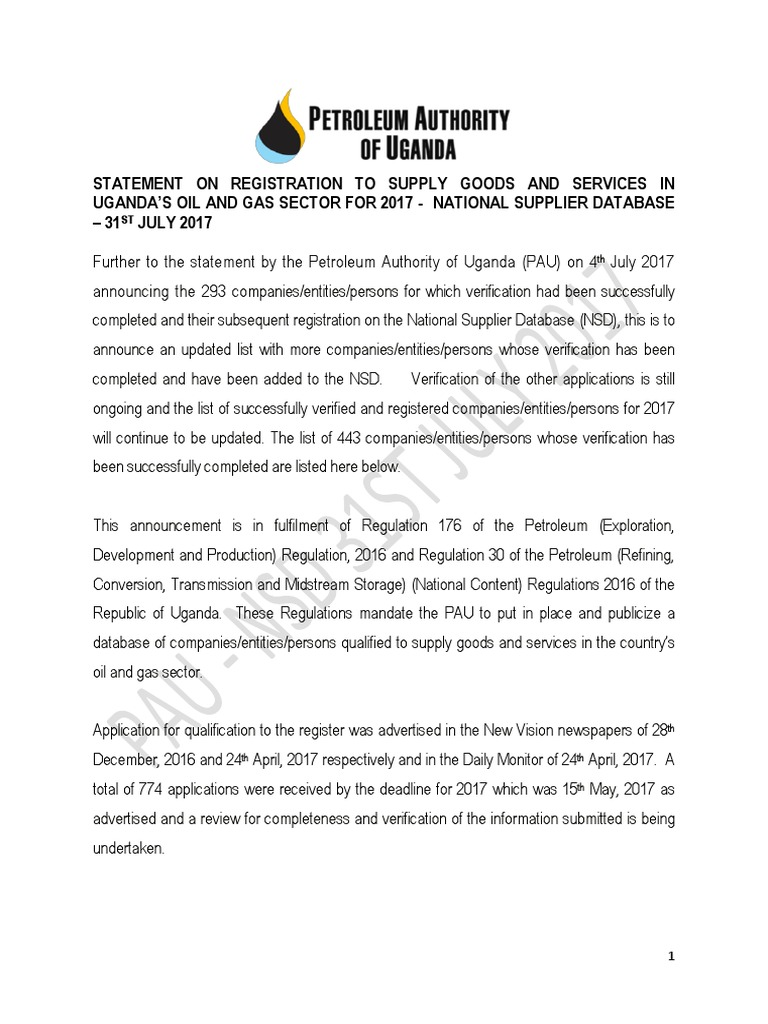 Uganda National Oil and Gas Suppliers Database   Uganda