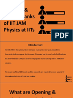 Opening & Closing Ranks of IIT JAM Physics at IITs