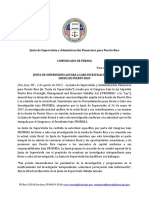Comunicado Público Sobre El Inicio de La Investigación de La Deuda de Puerto Rico (JSF)