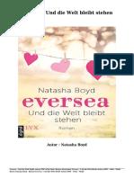 Bücher Kostenlose Eversea - Und Die Welt Bleibt Stehen (PDF - EPub - Mobi) Durch Natasha Boyd