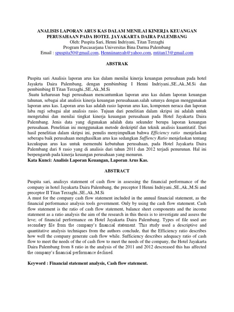 Analisis Laporan Arus Kas Dalam Menilai Kinerja Keuangan Perusahaan Pada Hotel Jayakarta Daira Palembang Pdf