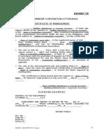 EXIBIT EE- Certificate of Management