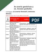 Códigos de Avería Genéricos y Específicos
