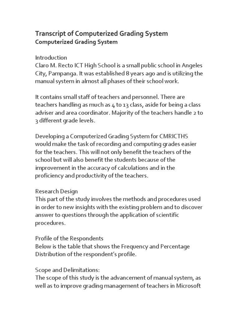 computerized grading system thesis pdf