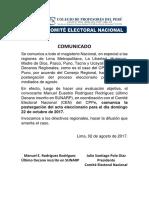 Comunicado - Postergación de Elecciones CPPe