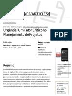 Um Fator Crítico No Planejamento de Projetos
