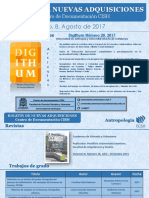Boletín de nuevas adquisiciones CISH - Agosto 2017