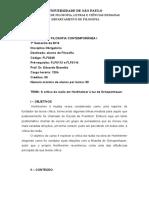 FLF0248 História Da Fil. Contemporânea I (2014-I)