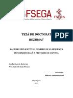 Plesoianu Mihaela Anita - FACTORI EXPLICATIVI AI DEVIERII DE LA EFICIENȚA  INFORMAȚIONALĂ A PIEȚELOR DE CAPITAL