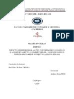 PECE Andreea Maria - MPACTUL CRIZEI GLOBALE ASUPRA PERFORMANȚEI COMPANIILOR  ȘI A COMPORTAMENTULUI INVESTITORILOR
