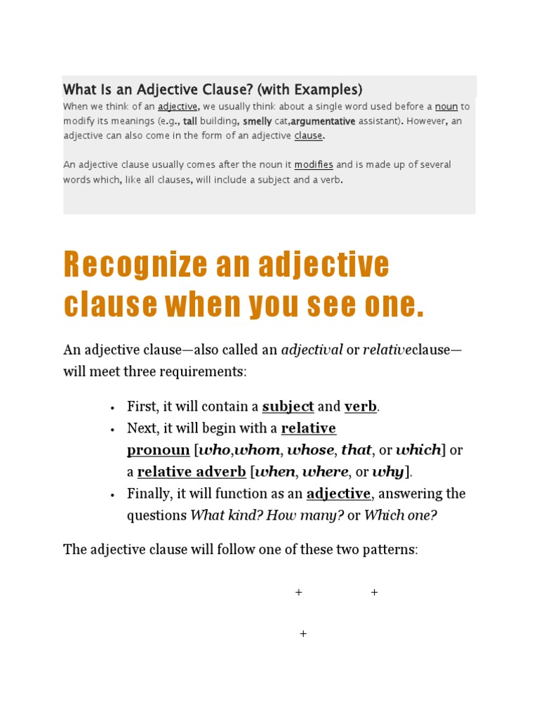 adjective clause meaning