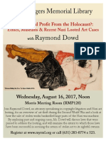 Raymond Dowd Nazi Art Looting Lecture August 16 Southampton NY